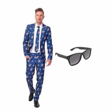 Amerikaanse vlag heren carnavalskleding maat (l) gratis zonnebril roo