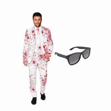 Bloedspatten print heren carnavalskleding maat (xxl) gratis zonnebril
