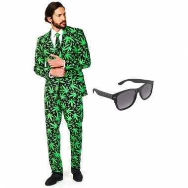 Cannabis print heren carnavalskleding maat xxxl gratis zonnebril roosendaal