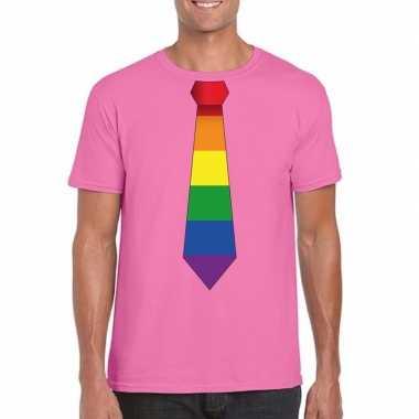 Azalea roze t shirt regenboog vlag stropdas heren carnavalskleding ro