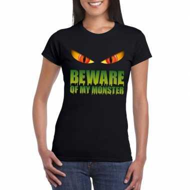 Beware of my monster halloween t shirt zwart dames carnavalskleding r
