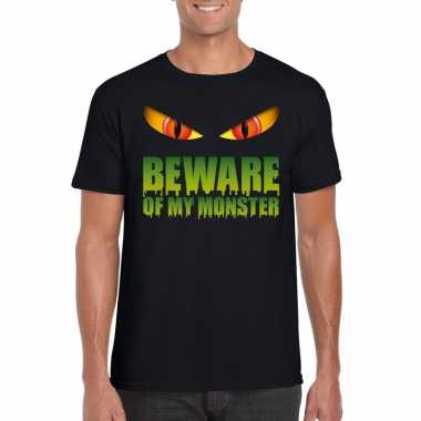 Beware of my monster halloween t shirt zwart heren carnavalskleding r
