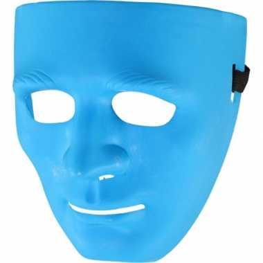 Blauw gezichtsmasker carnavalskleding Roosendaal