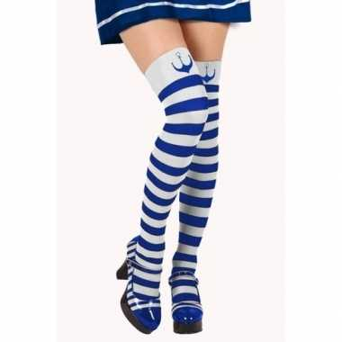 Blauw/witte matroos kousen verkleed accessoire dames carnavalskleding