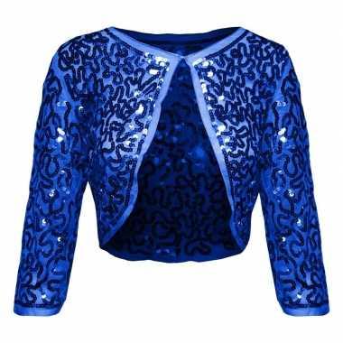 Blauwe glitter pailletten disco bolero jasje dames carnavalskleding r