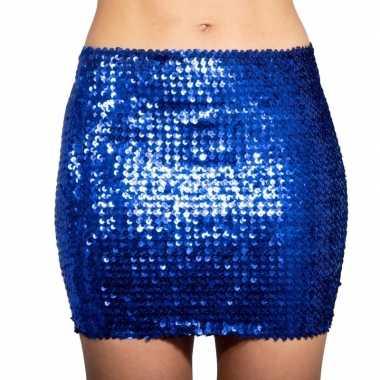 Blauwe glitter pailletten disco rokje dames carnavalskleding roosenda