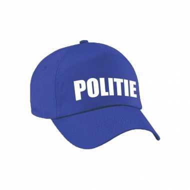 Blauwe politie agent verkleed pet / cap kinderen carnavalskleding roosendaal