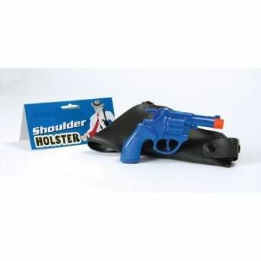 Blauwe politie revolver schouder holster carnavalskleding roosendaal