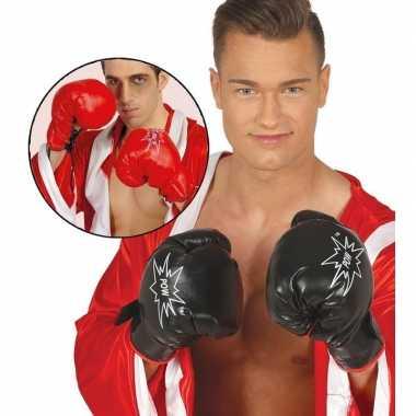 Carnavalskleding bokser verkleed handschoenen zwart volwassenen roosendaal