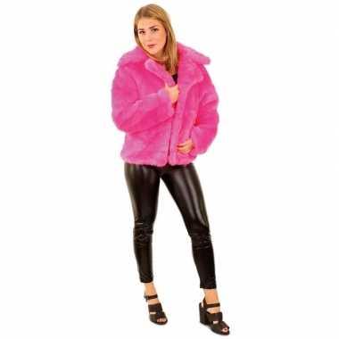 Bontjas neon roze dames carnavalskleding roosendaal