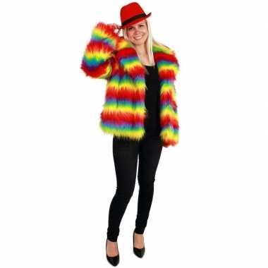 Bontjas regenboog print dames carnavalskleding roosendaal
