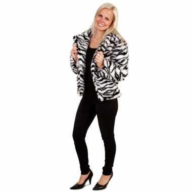 Bontjas zebra print dames carnavalskleding roosendaal