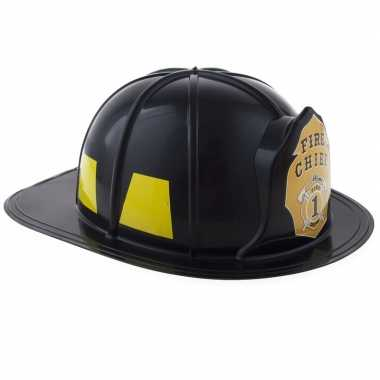 Brandweer verkleed helm zwart volwassenen carnavalskleding roosendaal