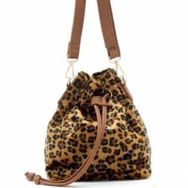 Bruin/zwart luipaardprint schoudertasje/bucket bag carnavalskleding r