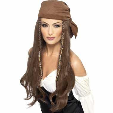 Bruine piratenpruik bandana dames carnavalskleding roosendaal