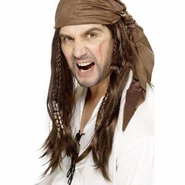 Bruine piratenpruik bandana heren carnavalskleding roosendaal