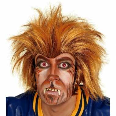 Carnavalskleding bruine weerwolf pruik volwassenen roosendaal