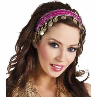 Buikdanseres hoofdband/diadeem fuchsia roze dames verkleedaccess carn