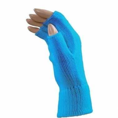 Carnaval vingerloze handschoenen blauw volwassenen carnavalskleding r