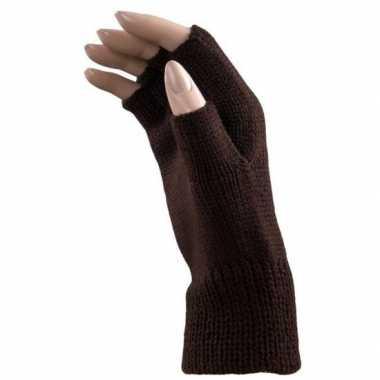 Carnaval vingerloze handschoenen bruin volwassenen carnavalskleding r