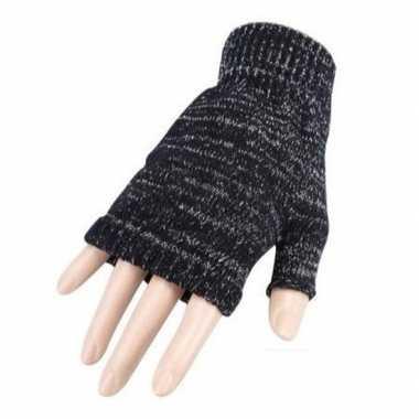 Carnaval vingerloze handschoenen grijs gemeleerd volwassenen carnaval