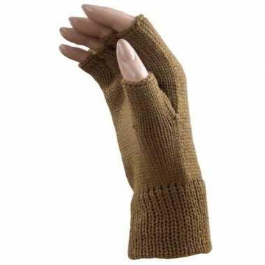 Carnaval vingerloze handschoenen licht bruin volwassenen carnavalskle