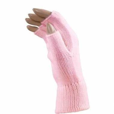 Carnaval vingerloze handschoenen licht roze volwassenen carnavalskled