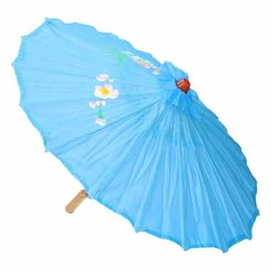 Chinese paraplu lichtblauw carnavalskleding roosendaal