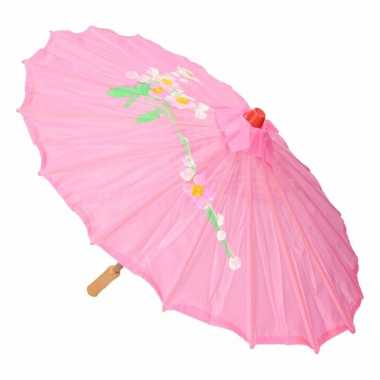 Chinese paraplu lichtroze carnavalskleding roosendaal