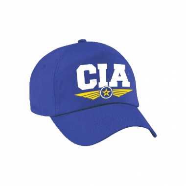 Cia agent tekst pet / baseball cap blauw kinderen carnavalskleding roosendaal