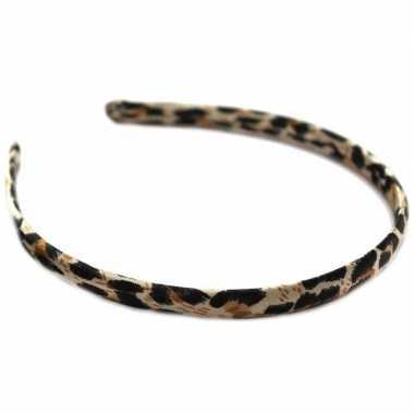 Dames diadeem/haarband bruine panter dierenprint carnavalskleding roo