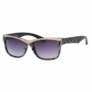 Carnavalskleding dames zonnebril tijgerprint zwart roosendaal
