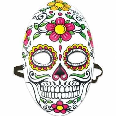 Day of the dead sugarskull gezichtsmasker dames carnavalskleding roos