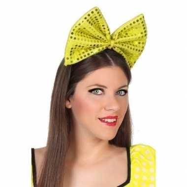 Diadeem grote gele strik pailletten dames carnavalskleding roosendaal