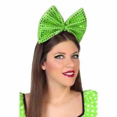 Diadeem grote groene strik pailletten dames carnavalskleding roosenda