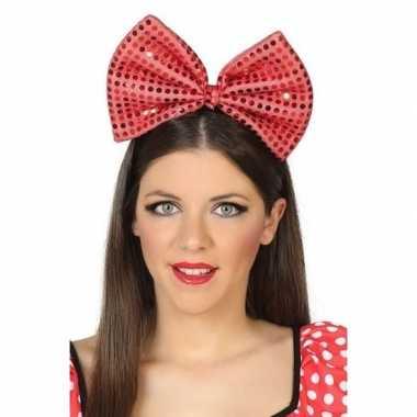 Diadeem grote rode strik pailletten dames carnavalskleding roosendaal