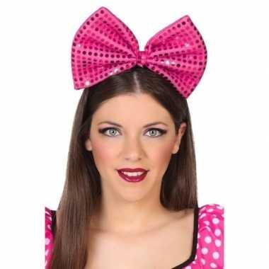 Diadeem grote roze strik pailletten dames carnavalskleding roosendaal