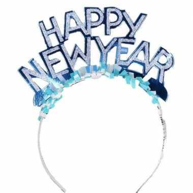 Diadeem happy new year blauw volwassenen carnavalskleding roosendaal