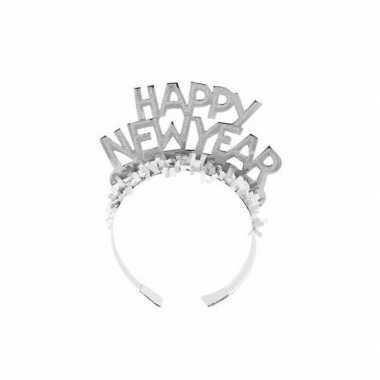 Diadeem happy new year zilver volwassenen carnavalskleding roosendaal