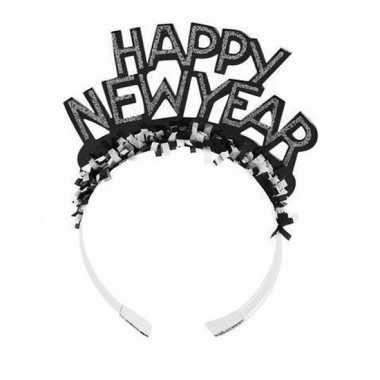 Diadeem happy new year zwart volwassenen carnavalskleding roosendaal