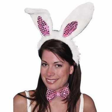 Diadeem konijn/haas verkleedset oren volwassenen carnavalskleding roo