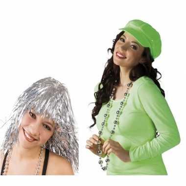 Disco accessoires verkleedset zilver dames carnavalskleding roosendaa