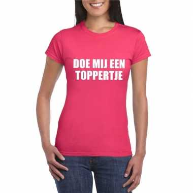 Doe mij een toppertje shirt roze dames carnavalskleding roosendaal