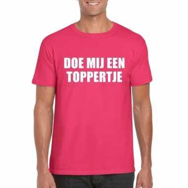 Doe mij een toppertje shirt roze heren carnavalskleding roosendaal