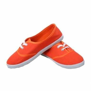 Feest oranje sneakers/schoenen dames accessoires carnavalskleding roo