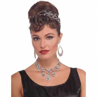 Feest/verkleed ketting zilver diamanten dames carnavalskleding roosen