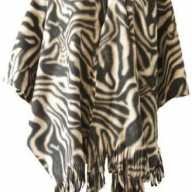 Carnavalskleding fleece poncho zebra print roosendaal