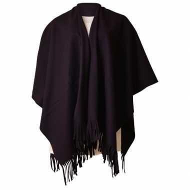 Carnavalskleding fleece poncho zwart roosendaal