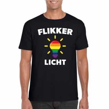 Flikker licht shirt regenboog lampje zwart heren carnavalskleding roo
