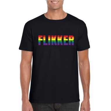 Flikker regenboog tekst shirt zwart heren carnavalskleding roosendaal